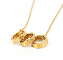 Wholesale Fashion brand circle screw rings pendant necklace L Stainless Steel gold rose gold silver color for lovers SP00055