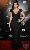 Reference Images V-Neck Lace 2014 Classic Kim Kardashian Celebrity Dress Mermaid V-neck Short Sleeves Black Lace Evening Dresses