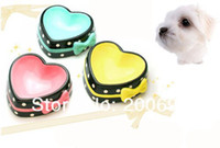 Wholesale Cute Hot Pink Blue Yellow Non slip Lovely Heart shape Pet Bowl for Dog Cat Made of Ceramic Elegant and Noble