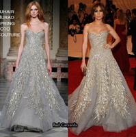 Wholesale 2015 Jennfier Lopez Red Carpet Dress Zuhair Muard Celebrity Dresses A Line Sweetheart Sleeveless Floor Length Beads Appliques Crystal