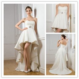 Wholesale 2014 new empire waist strapless lace bodice summer beach wedding dress high front low back bubble white taffeta bridal gown with belt W12403