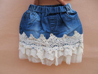 Summer jean skirts - Girls Baby Denim Sweet Lace Pleated Skirts Mini Skirts New Summer Children Casual Jean Lace Skirts Girls Kids Princess Dresses