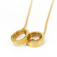 Wholesale Fashion silver rose gold double screw love rings pendant necklace L stainless steel two circle rings necklace jewelry SP00056