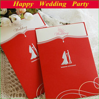 Cheap Red Bridal & Groom Wedding Invitation Card with personalized printing free envelope & fee shipping
