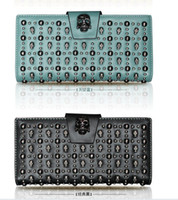 Wholesale New fashion leather wallets purses AIYUZU skeleton skull head rivet long wallet purse handbag cards holders bag bags colors
