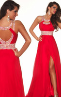 Wholesale 2014 Dazzing Crystal Prom dress Long Red Chiffon Beads Front Side slit Evening Prom Bridesmaid Dresses Prom Ball Gown