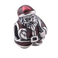 Wholesale Father Christmas charms for bracelets made of solid sterling silver beads with threaded marked S925 ALE fit European bracelets LW318