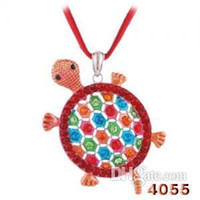 Wholesale Mix Color Exquisite Rhinestone Inlaid Alloy Necklace Turtle Shape Pendant Necklace W32907Y66