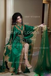 Wholesale 2016 Muslim Evening Dresses Gold Lace Appliques High Neck Long Sleeves Green Vestidos Hi Lo Party Middle East Abaya Dubai Kaftan BO2431