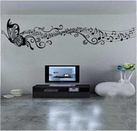 Wholesale Children Room Decoration Wall Stickers Classic Music Butterfly Style Home Decoration PVC Vinyl Wall Sticker removed Pop Sale Cheap New
