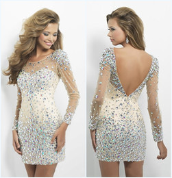 Wholesale 2014 Dazzing Crystal Prom dress Gorgeous Homecoming Dresses Sexy Jewel Beads Backless Tulle Short Mini Long Sleeves Sheath Cocktail dresses