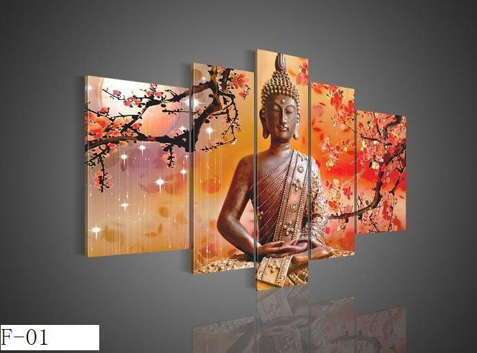 hot 5 panels religion buddha oil painting on canvas fine design wall art high quality as