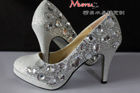 PU Rhinestone High Heel Gift!!!Gorgeous Beaded High-heeled Bridesmaid Bridal Shoes Crystal Diamond Lady Shoe for Wedding Party Ball Prom Pageant Event 3 Colors