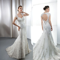 Cheap demetrios 2013 Backless Mermaid Sweetheart eaded Lace Court Train Wedding Dresses Bridal Gowns 2014 A1789