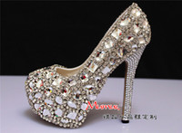 PU Rhinestone High Heel Gift!!!Gorgeous Beaded High-heeled Bridesmaid Bridal Shoes Crystal Diamond Lady Shoe for Wedding Party Ball Prom Pageant Event One Color