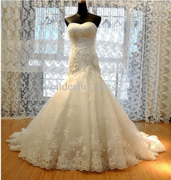 Wholesale New Wedding Dress Tulle Strapless Straight Neckline Lace Empire Bow Beaded Mermaid Bridal Gown