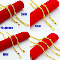 Wholesale New Arrival K Gold Plated Jewelry MM MM MM Rope Chain Necklace Inch cm