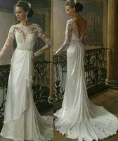Wholesale 2013 Long Sleeve Lace Backless Wedding Dress Bateau Neck V Back Crystal Chiffon Chapel Train Beaded