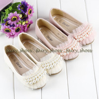 Wholesale Pairs Baby Party Shoes Girls Lace Mary Jeans Dress Shoes Children Kids Beading Foot Wear Pearls Flats Beige Pink GB13111102