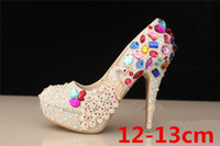 PU Rhinestone High Heel Gift!!!Gorgeous Colorful Beaded High-heeled Bridesmaid Bridal Shoes Crystal Diamond Lady Shoe for Wedding Party Ball Prom Pageant Event