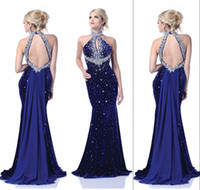 Vestidos De Fiesta 2014 Halter High Neck Backless Velvet Pur...