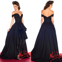 Wholesale Black High Low Formal Evening Dress Off the Shoulder Satin Prom Dress Ball Gown Pleated Party Gowns Fast Shipping