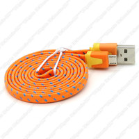 Wholesale 1M M M Candy Colour Fabric Braided Noodle Flat Data Sync USB Charging Cable Cord Nylon Extension Lead