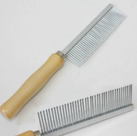 Wholesale 100pcs Pet Wooden Handle Single Needle Comb Stainless Steel Dog Cat Grooming Combs cm g