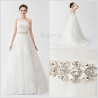 Wholesale 2014 spring new modern favorite A Line Princess One Shoulder Sleeveless Court Train Lace up Tulle Appliques Crystal Draped Wedding Dresses