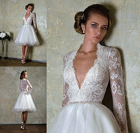 Wholesale 2014 Beach Wedding Dresses Sexy Deep V Neck Sheer Appliqued Long Sleeve And Back Ball Gown Knee Length White Organza Bridal Dress Gowns