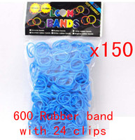 "0-12M Multicolor Plastic Silicone Gel (600 bands mix =1pack ) Rainbow Loom bands refill pack DIY twist rubber band DHL free With 24pcs""S"" or ""c "" Clips MOQ 150PCS"