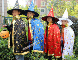 Wholesale Children s witch hat mask cloak clothes suit Kids Halloween and Christmas costumes kids performance clothing
