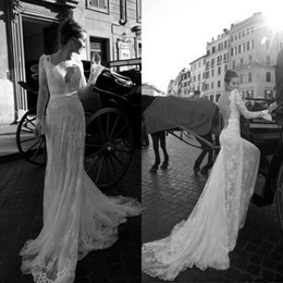 Wholesale 2014 Sexy Backless Vintage Beaded Mermaid Lace Beach Wedding Dresses With V Neck Long Sleeves Court Train