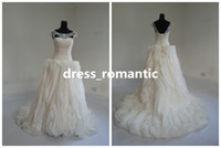 A-Line Model Pictures Scoop New Real Photos 2014 Gorgeous A-Line Ruffles Scoop Wedding Gowns Beautiful Crystal Beads Sweep Train Bridal Dresses