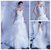 Wholesale 2014 New Demetrios Charming Beaded Gown Sleeveless Mermaid Sweetheart White Dress Chapel Train Wedding Dresses