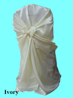 Wholesale Ivory Satin Chair Cover Satin Self Tie Chair Cover Universal Chair Cover g each New Satin Chair Cover