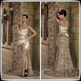 Wholesale 2016 Champagne Sweetheart Sleeveless Leopard Print Mermaid Long Prom Dresses Beading Bow Ruffle Sweep Train Party Evening Gowns