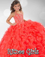 Girl beauty girls dresses - 2016 Glitz Girl s Pageant Dresses Beauty Bling Crystal Beaded Halter Lace Up Back Puffy Pleats Tiered Ball Gown Flower Girls Dress