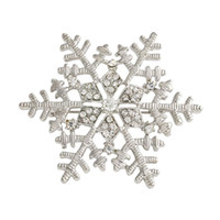 Wholesale Hot Fashion Snowflake Brooch Silver Crystal Lady Suit Dress Brooches Christmas Gift Beanie Hat Accessories