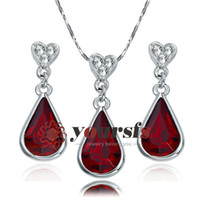 Wholesale christmas gift austrian crystal K White Gold Plated Used Swarovski Crystal Ruby Pendant Necklace Earring bridal jewelry sets S356W2