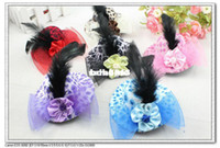 Christmas   Wholesale - 6 colors 3.9 inches Solid Felt Mini Top Hat Fascinator Base Party Hats,net yarn fabric flower 12pcs lot H9048 free shipping