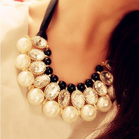 Wholesale Womens Pearl Ribbon Necklace Jewelry Big Acrylic Rhinestone Diamond False Collar Necklaces Choker
