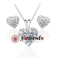 Wholesale christmas jewelry gift austrian crystal K White Gold Plated Jewelry Heart Of Ocean Used Swarovski Crystal bridal jewelry Sets S014W1