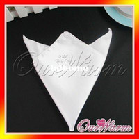 Wholesale Pieces White Satin Table Dinner Napkin quot Square Men Pocket Handkerchief Multi Purpose Wedding Party Decor New