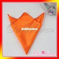 Wholesale Pieces Orange Satin Table Dinner Napkin quot Square Men Pocket Handkerchief Multi Purpose Wedding Banquet Colors