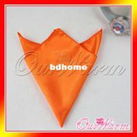 Wholesale Pieces Orange Satin Table Dinner Napkin quot Square Men Pocket Handkerchief Multi Purpose Wedding Banquet Colors