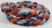 Precio de Trenzas grises oscuros-Promoción - béisbol 350PCS / Lot deportes de titanio 3 cuerda trenzado azul anaranjado azul gris deporte GE collar RT029