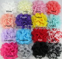 "Hair Accessories chiffon/lace Solid 3.75"" HOT shabby Chiffon Flower head Tulle Lace Layered Flowers baby gilrs hair accessory,Fabric flowers Headwear-60pcs- Free Shipping"