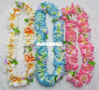 Wholesale colors Party Wedding Christmas Supplies Hawaiian Flower Lei Garland Wreath Artificial Necklace HH0001