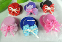 Christmas   Wholesale - Free shipping 20 pcs ('6 Color) kids party cute Lace bow mini top hat for child hair clips Hair Accessories